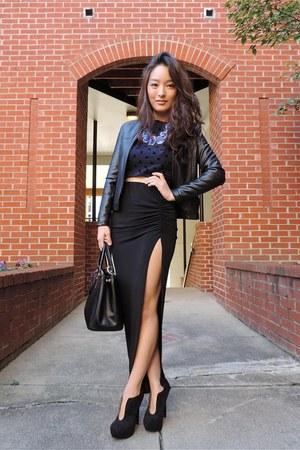 black maxi deb skirt - black deb boots - black ann taylor jacket