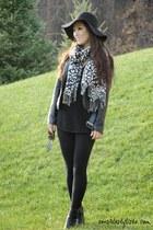 black Nine West boots - black sweater Express dress