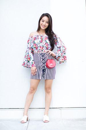 white Boohoo top - navy asos skirt