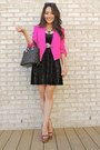 Black-forever-21-dress-hot-pink-reese-riley-blazer