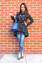 blue Spiegel coat - blue tie-dye skinny blue society jeans