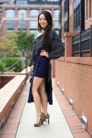 navy asos skirt - black polka dot asos top - brown animal print 548 heels