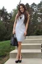 heather gray Liberty Sage dress - black saffiano Prada bag