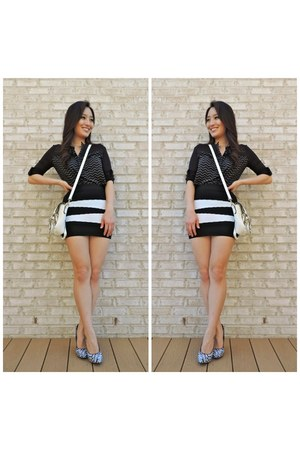 black bandage mini ami clubwear skirt - white LucyMint bag