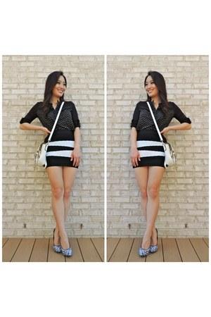 black bandage mini ami clubwear skirt - white LucyMint bag