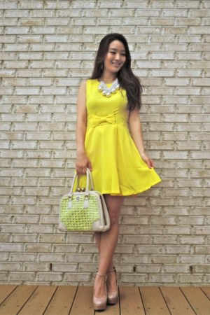 white pearl Ashley Schenkein Jewelry earrings - yellow skater YRB Fashion dress