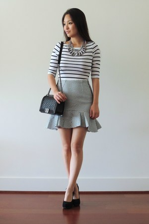 black striped crop Danice top - black Chanel bag - black Front Row Shop skirt