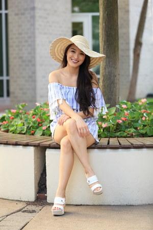 sky blue striped tassel asos romper - beige floppy Dynamic Asia hat