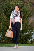 ruby red ann taylor scarf - navy high waisted YMI jeans