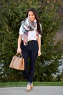 Navy-high-waisted-ymi-jeans-ruby-red-ann-taylor-scarf