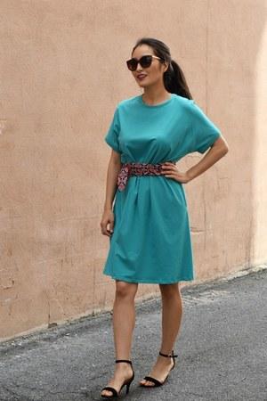 turquoise blue Elegantees dress - black H&M sandals