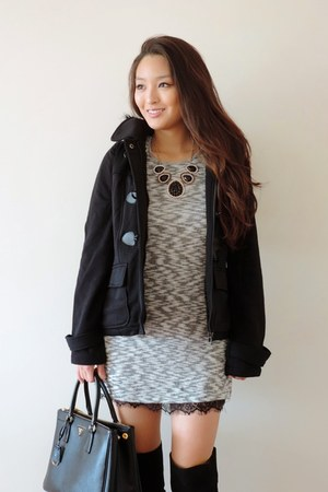 heather gray sweater deb dress - black over the knee AmiClubWear boots