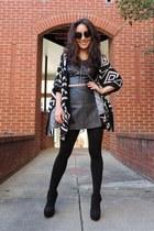 black OASAP cardigan - black opaque fleece deb tights