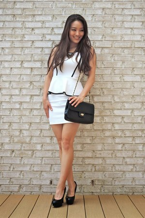 black round toe Candies shoes - white deb dress - black Bally bag