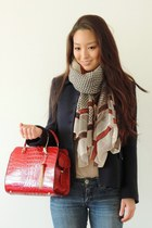 red faux-crocadile Handbag Heaven bag - navy Marc Jacobs coat - navy Bongo jeans