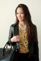 black ann taylor jacket - black saffiano Prada bag - light orange floral H&M top