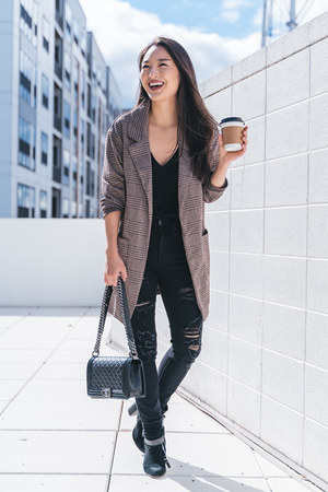 black Aeropostale jeans - dark brown Forever 21 blazer - black Chanel bag