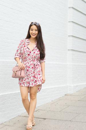 bubble gum floral shirt Forever 21 dress