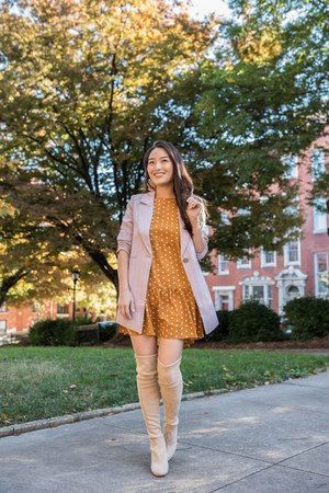 mustard polka dot mini asos dress - periwinkle Chicwish blazer