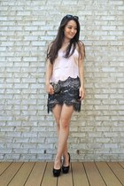 black round toe Candies shoes - light pink satin lace slip Boohoo dress