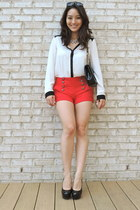 white black-trimmed Forever 21 blouse - black Bally bag - red Forever 21 shorts