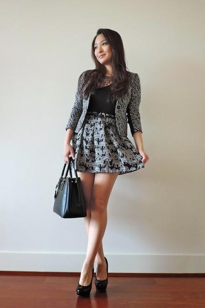 black elephant print Aeropostale skirt - black zebra-print H&M blazer