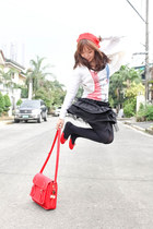 red DIY hat - black sm department store tights - red Glam Rock Manila bag