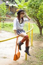 black Primadonna boots - black sm accessories hat - orange satchel bag