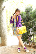 yellow and blue plaid SM GTW dress - navy AsianVogue shoes