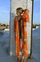 orange kimono vintage jacket - charcoal gray moccasins Minnetonka shoes