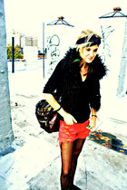 hot pink vintage Levis shorts - black cashmere Prada sweater - sheer UO tights