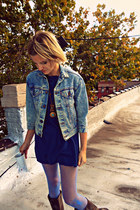 Levis jacket - Frye boots - blue nylon Look From London tights