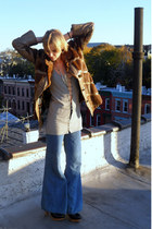 light blue wide leg vintage jeans - dark brown fur vintage coat - accessories
