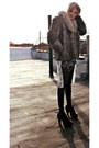 Fishtail-evil-twin-dress-heather-gray-fur-vintage-coat