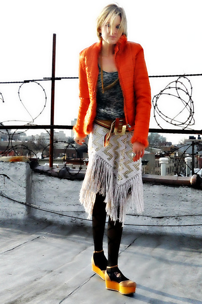 camel platforms Jeffrey Campbell shoes - carrot orange puffer vintage jacket