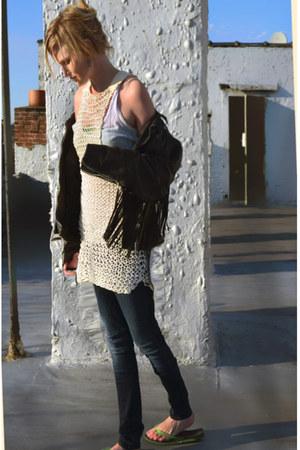 eggshell crochet vintage dress - black skinny citizens of humanity jeans