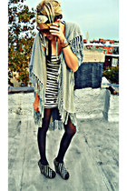 boho vintage accessories - heather gray opaque UO tights