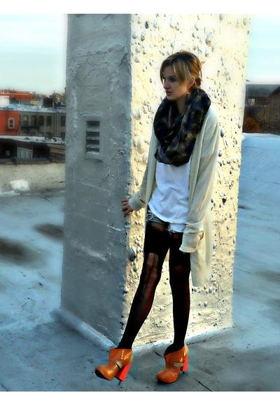 eggshell long cardigan Jill Stuart cardigan - light blue ripped Mink Pink shorts