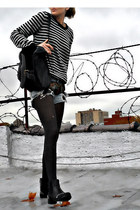 ripped Mink Pink shorts - studded Miu Miu boots - striped Barneys sweater