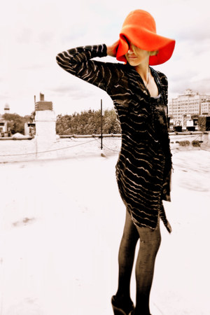 red floppy hat vintage accessories - black long cardigan evil twin dress