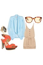 tan ALC dress - light blue Dion Lee blazer - brown tortoiseshell Tom Ford sungla