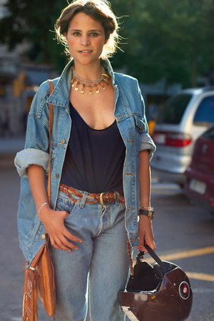 light blue jeans - light blue jacket - navy top - tawny belt - bronze necklace -