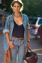 light blue jeans - light blue jacket - navy top - tawny belt - bronze necklace -