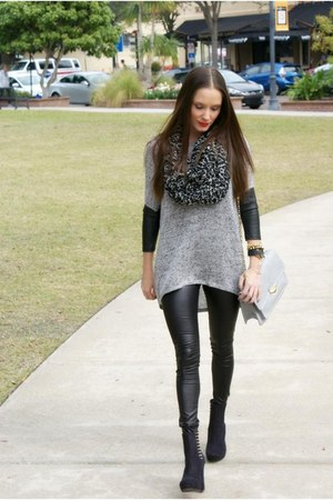 H&M sweater - studded heels H&M boots - asos leggings - Etsy scarf