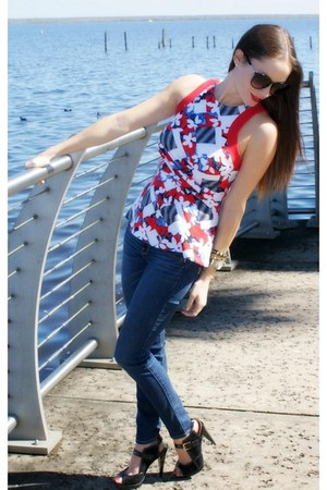 peplum floral Peter Pilotto For Target top - skinny jeans hollister jeans