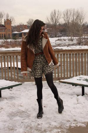 black doc martens boots - camel shearling choklate jacket - black floral vintage