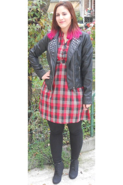 black leather jacket Pimkie jacket - red jennyfer dress - black Pimkie leggings