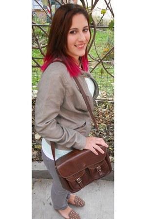 dark brown satchel vintage bag - silver ovs jeans