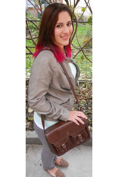 dark brown satchel vintage bag - silver ovs jeans
