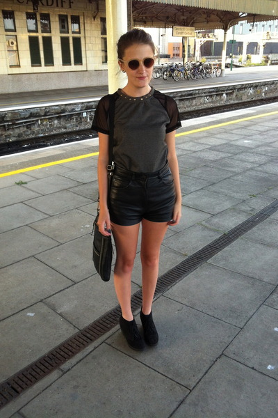 black black leather unknown brand shorts